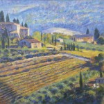 "Tuscan Farmhouse & Vineyards | oil on canvas| 22""x 26"""