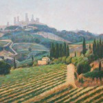"Across the Vineyards to San Gimignano | Oil | 12.5"" x 17"" 
