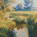 "Chalkstream, Frampton | Oil on canvas | 60"" x 40"" |"