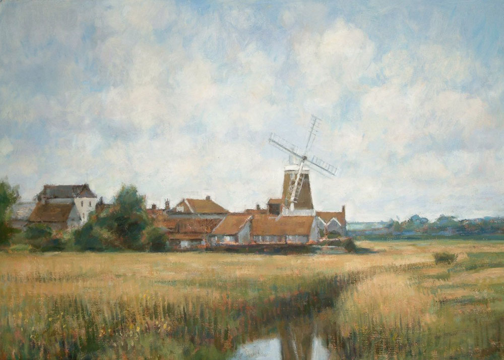 "Cleymill from Reedbeds, Norfolk | Oil | 16"" x 20"" 