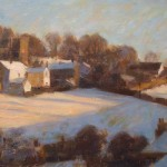 "Dartmoor Village in the Snow | Oil on board | 13"" x 17"" 