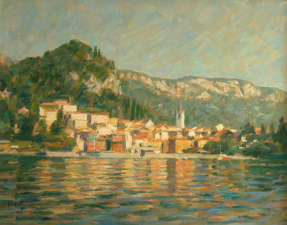 "Lakeside Reflections, Varenna, Lake Como | Oil on board | 12"" x 20"""