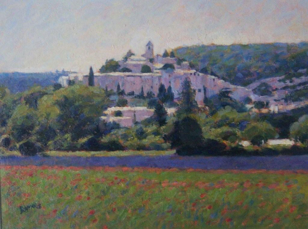 "Luberon Village, Lavender and Poppies | Oil | 9.5"" x 12"" 