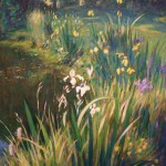 "Pond with Blue Irises | Oil on canvas | 30"" x 24"""