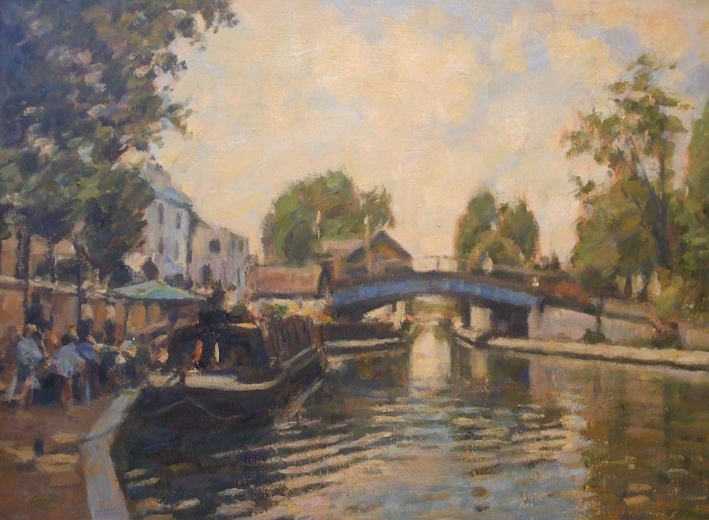 "Quayside, Little Venice, London | Oil on board | 14"" x 17"""