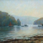 "River Dart, Dittisham, Autumn Mist | Oil on canvas |14"" x 18"""