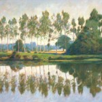 "River Sarthe Reflections, Mayenne |Oil on canvas | 24"" x 36"" 