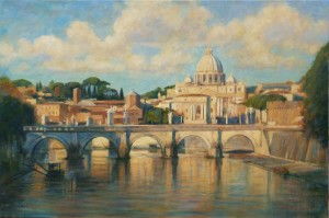 "St Peters and Ponte St Angelo | Oil on canvas | 24"" x 36"""