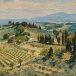 "Vineyards Below San Gimignano 2 | Oil on board | 24"" x 36"""