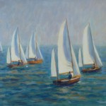 Yawl racing, Salcombe, Oil on canvas, 16in x 20in